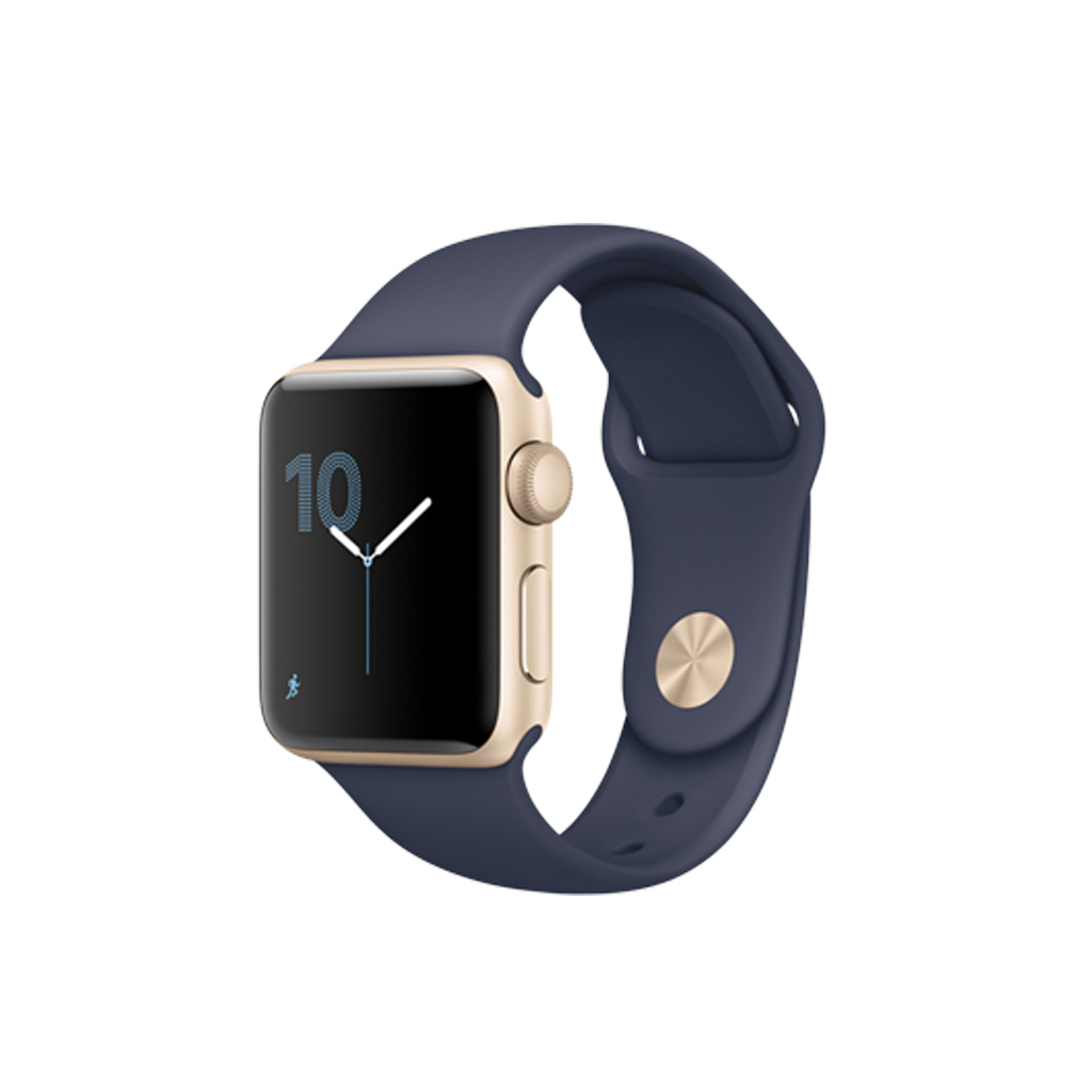 Apple Watch Series 2 38mm Aluminio Oro correa Sport Azul Medianoche
